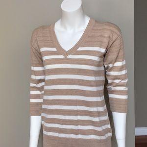 Eddie Bauer XS S Tan Ivory Striped Sweater